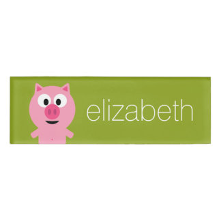 Cute Farm Piglet - Pink and Lime Green Name Tag