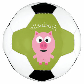 Cute Farm Piglet - Pink and Lime Green Soccer Ball