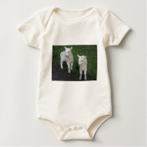 Cute Farm Ranch Baby Twins Sheep Lamb Baby Bodysuit