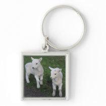 Cute Farm Ranch Baby Twins Sheep Lamb Keychain