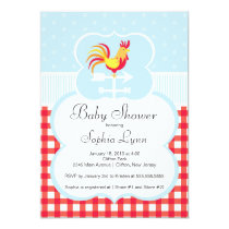 Cute Farm Roaster Baby Shower Invitation