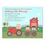 Cute Farm Tractor Kids Birthday Party Invitations