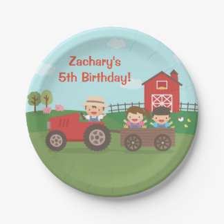 Cute Farm Tractor Kids Birthday Party Supplies Paper Plate
