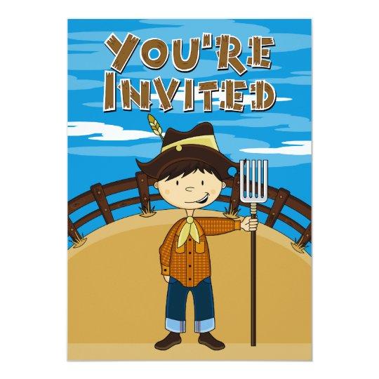 Cute Farmer Boy Party Invite