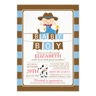 Cute Farmer Boys Baby Shower Invitation