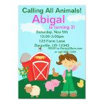 "Cute Farmer Girl Farm Birthday Party Invitation 5"" X 7"" Invitation Card"
