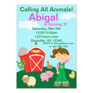 Cute Farmer Girl Farm Birthday Party Invitation