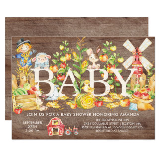 Cute Farmers Market Baby Shower Invitation