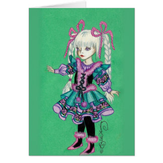 Cute fashion girl with blonde braids greeting card