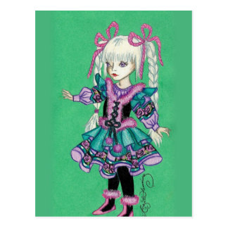 Cute fashion girl with blonde braids postcards