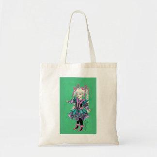 Cute fashion girl with blonde braids tote bag