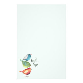 Cute Fat Birds Standing on Each Other Stationery