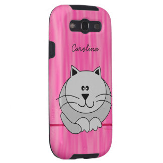 Cute Fat Cat on Pink Personalised Name Cover Samsung Galaxy S3 Cover