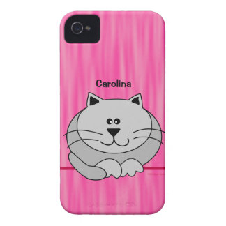 Cute Fat Cat on Pink Personalized Name Cover iPhone 4 Cases