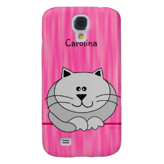 Cute Fat Cat on Pink Personalized Name Cover Samsung Galaxy S4 Case