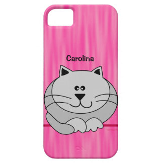 Cute Fat Cat on Pink Personalized Name iphone 5 iPhone SE/5/5s Case