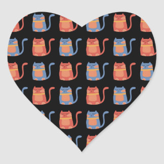 Cute Fat Cats in Pink and Blue Gifts for Cat Lover Heart Sticker