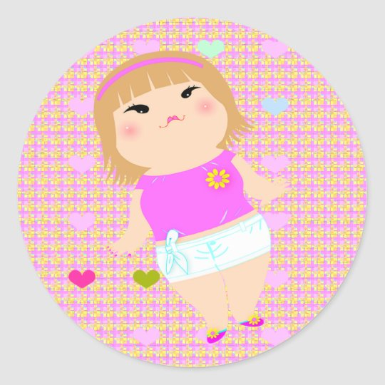 cute fat girl classic round sticker