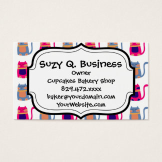 Cute Fat Kitty Cats in Pink Melon Blue Unique Gift Business Card