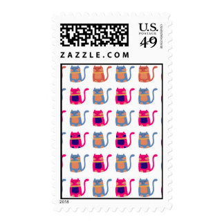 Cute Fat Kitty Cats in Pink Melon Blue Unique Gift Postage