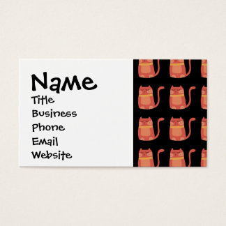Cute Fat Kitty Cats in Pink Melon on Black Business Card