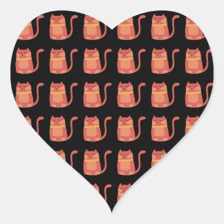 Cute Fat Kitty Cats in Pink Melon on Black Heart Sticker