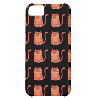 Cute Fat Kitty Cats in Pink Melon on Black iPhone 5C Cases