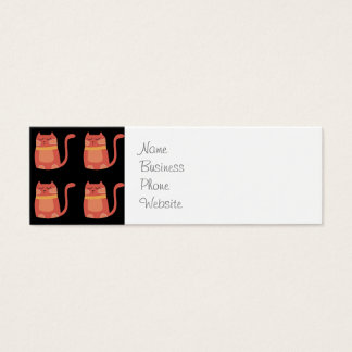 Cute Fat Kitty Cats in Pink Melon on Black Mini Business Card