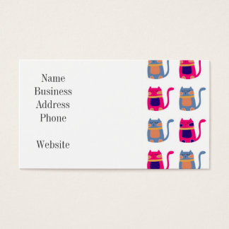 Cute Fat Kitty Cats Pink Melon Blue Unique Gifts Business Card