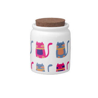 Cute Fat Kitty Cats Pink Melon Blue Unique Gifts Candy Jar