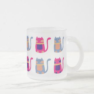 Cute Fat Kitty Cats Pink Melon Blue Unique Gifts Frosted Glass Coffee Mug
