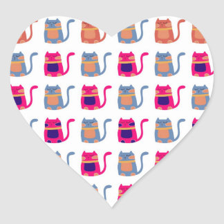 Cute Fat Kitty Cats Pink Melon Blue Unique Gifts Heart Sticker