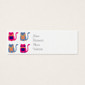 Cute Fat Kitty Cats Pink Melon Blue Unique Gifts Mini Business Card