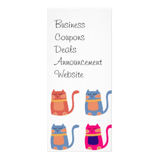 Cute Fat Kitty Cats Pink Melon Blue Unique Gifts Rack Card