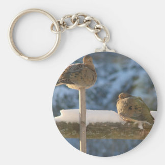 Cute Fat Morning Doves On The Post Basic Round Button Keychain
