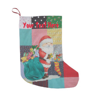 Cute father christmas toys gifts patchwork fabric small christmas stocking