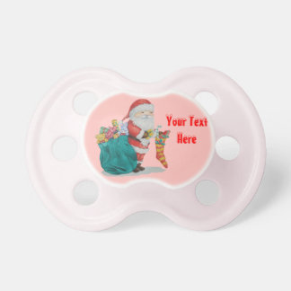 Cute father christmas toys in sack gifts stocking pacifier