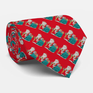 Cute father christmas with sack and gifts festive neck tie