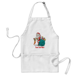 Cute father christmas with toys and gifts in sack adult apron