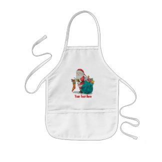 Cute father christmas with toys and gifts in sack apron