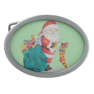 Cute father christmas with toys and gifts in sack belt buckle