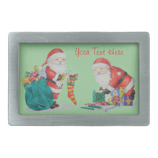 Cute father christmas with toys and gifts in sack rectangular belt buckle