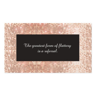 Cute Faux Copper Sequins Cosmetology Referral Card Business Card