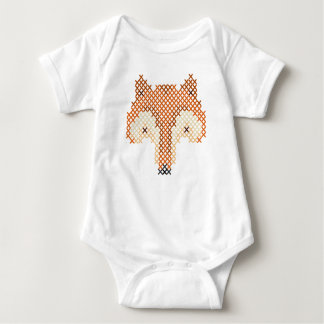 Cute Faux Embroidered Fox! Baby Bodysuit