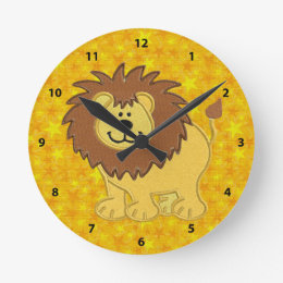 Cute Faux Embroidery Lion & Yellow Stars Clock