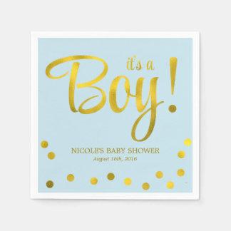 Cute Faux Gold Foil Confetti Boy Baby Shower Napkin