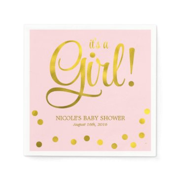 heartlocked Cute Faux Gold Foil Confetti Girl Baby Shower Napkin