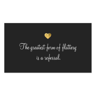 Cute Faux Gold Foil Heart Customer Referral Card Double-Sided Standard Business Cards (Pack Of 100)