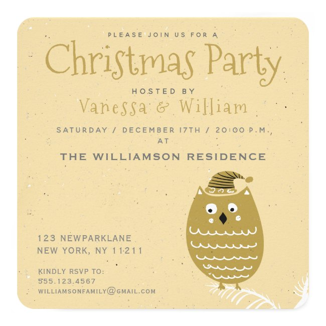 Cute Faux Gold Owl   Christmas Party