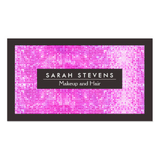 Cute Faux Hot Pink Sequins Beauty and Fashion Double-Sided Standard Business Cards (Pack Of 100)